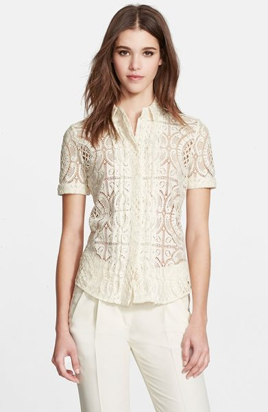 Burberry London cotton lace short sleeve shirt in parchment - Exquisite lace elevates this classic tailored shirt,...