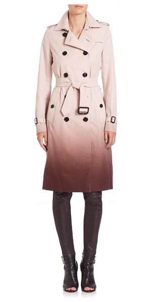 Burberry London Double-breasted degrade trench coat in icepink-deepclaret - Degrade pattern updates the essential trenchcoat....