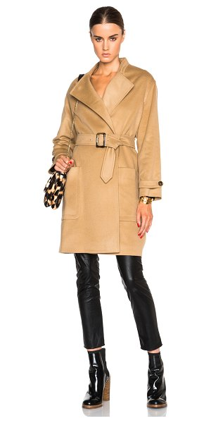 Burberry London Heronsby oversized wrap coat with patch pocket in neutrals - Self: 78% wool 22% cashmere - Lining: 51% viscose 49%...