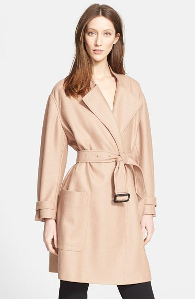 Burberry London heronsby wool & cashmere wrap coat in camel - The oversized silhouette of a delicately-hued wool and...