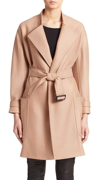 Burberry London Heronsby wool/cashmere wrap coat in camel - Easy luxury in a simple wrap style in a soft blend of...