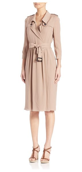 BURBERRY LONDON Iconic trench wrap dress in nude - Trench-inspired wrap dress of Mulberry silkPoint...