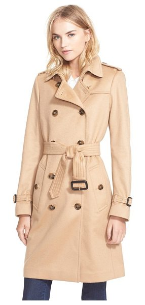 Burberry London kensington double breasted cashmere trench coat in camel - Crafted from exquisite Italian cashmere, a...