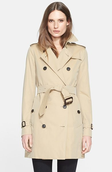 Burberry London kensington mid trench coat in honey - Classic trench styling-including storm flaps, epaulets...