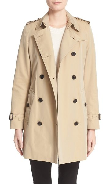 Burberry kensington mid trench coat in beige - Classic trench styling-including storm flaps, epaulets...