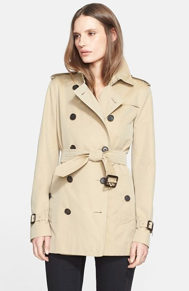 Burberry London kensington short trench coat in honey - Classic trench styling-including storm flaps, epaulets...
