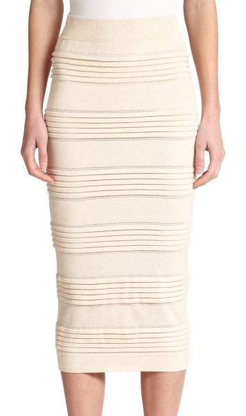 Burberry London Knit pencil skirt in parchment - Ribbed panels and eyelet trim lend a textural look to...