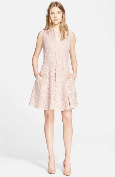 Burberry London lace fit & flare dress in ice pink - Icy pink lace enhances the ultrafeminine appeal of this...
