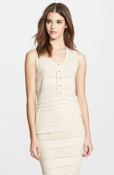 Burberry London pleat detail cotton blend sleeveless top in parchment - Deft horizontal pleats and intricate pointelle stitches...