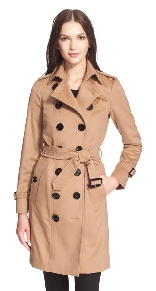 Burberry London 'sandringham' long slim cashmere trench coat in camel - Burberry London's iconic slim-fit trench with...