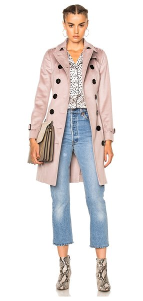 Burberry London Slim Trench Coat in pink - Self: 100% cashmere - Contrast Fabric: 66% wool 22%...