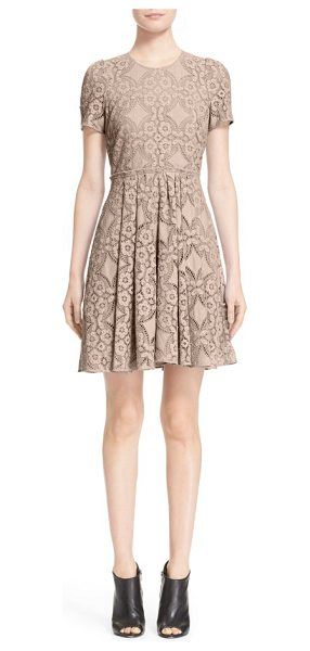 Burberry London velma short sleeve lace fit & flare dress in thistle pink - Exquisite lace enhances the ultrafeminine appeal of this...