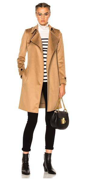 Burberry London Wrap Trench Coat in camel - Self: 100% cashmereLining: 60% acetate 40% cuproLining...