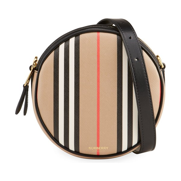 Burberry Louise Icon Stripe E-Canvas Round Crossbody Bag in archive beige