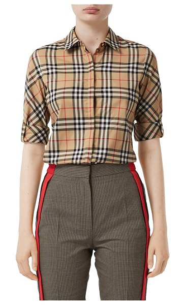 Burberry luka vintage check stretch cotton twill shirt in beige