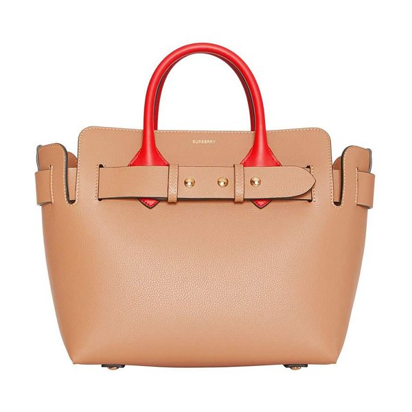 Burberry Marais Small Colorblock Belted Satchel Bag in camel