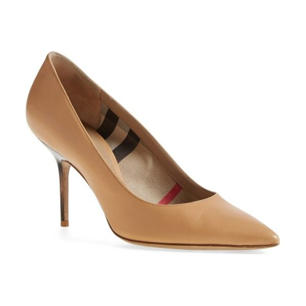 Burberry 'mawdesley' pointy toe pump in nude - A pointy-toe pump features a subtle Burberry touch with...