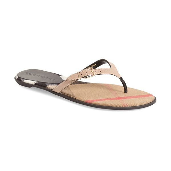 Burberry 'meadow' sandal in honey - A slim, belted thong strap refines the look of a barely...