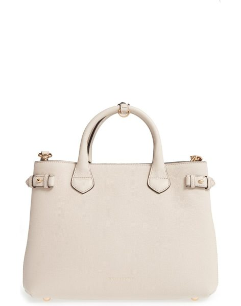 Burberry 'medium banner' house check leather tote in limestone - Crafted from lightly textured leather and featuring...