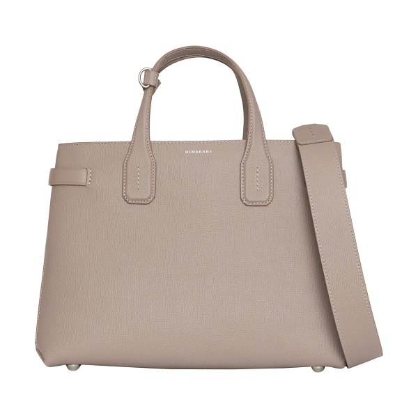 Burberry medium banner leather tote in beige - Structured enough to stand on its own, this fan-favorite...