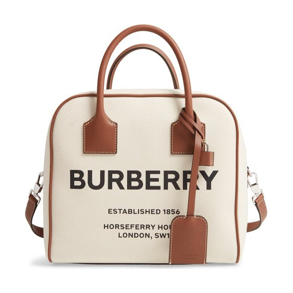 Burberry medium cube horseferry print canvas satchel in beige