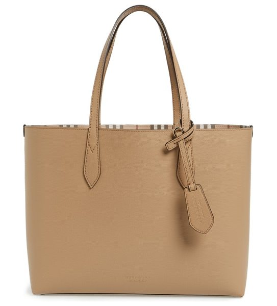 Burberry medium lavenby reversible calfskin leather tote in mid camel - A lightly structured leather tote with a flat base...