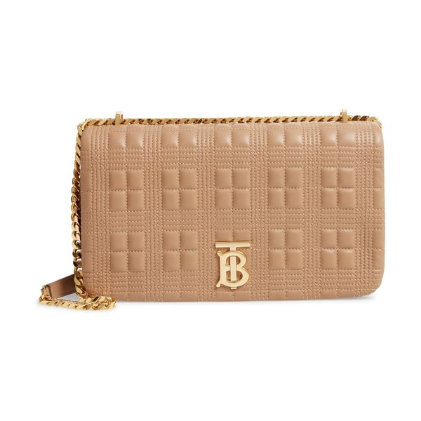 Burberry medium lola tb quilted leather shoulder bag in beige