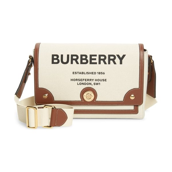 Burberry medium note horseferry logo canvas & leather crossbody bag in beige