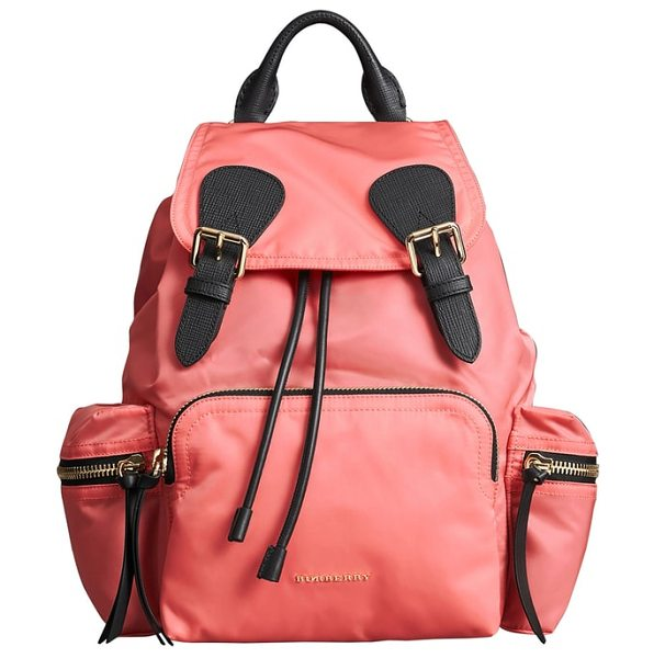 Burberry medium rucksack nylon backpack in bright coral pink - Trimmed with textured leather and detailed with plenty...