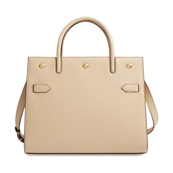 Burberry medium title grainy leather bag in beige