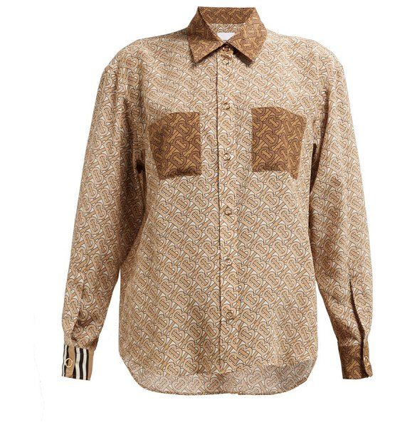 Burberry monogram-print silk-georgette blouse in beige multi