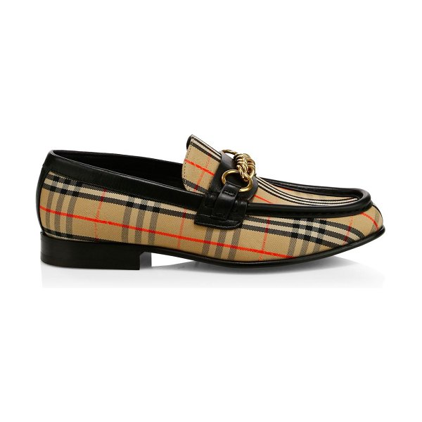 Burberry moorley plaid loafers in gold - Gold hardware tops distinguished plaid loafers....