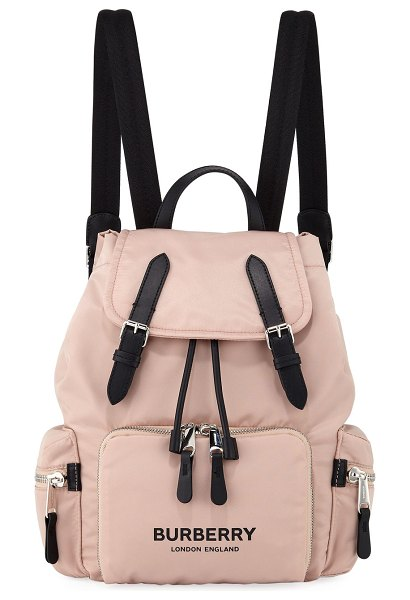 Burberry Nylon Medium Drawstring Rucksack Backpack in light pink