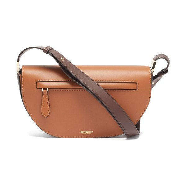 Burberry olympia small two-tone leather shoulder bag in tan