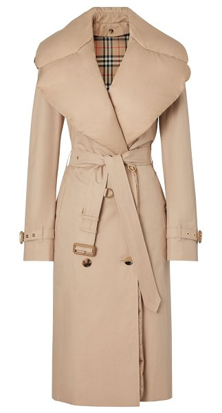 Burberry padded down-collar trench coat in ecru