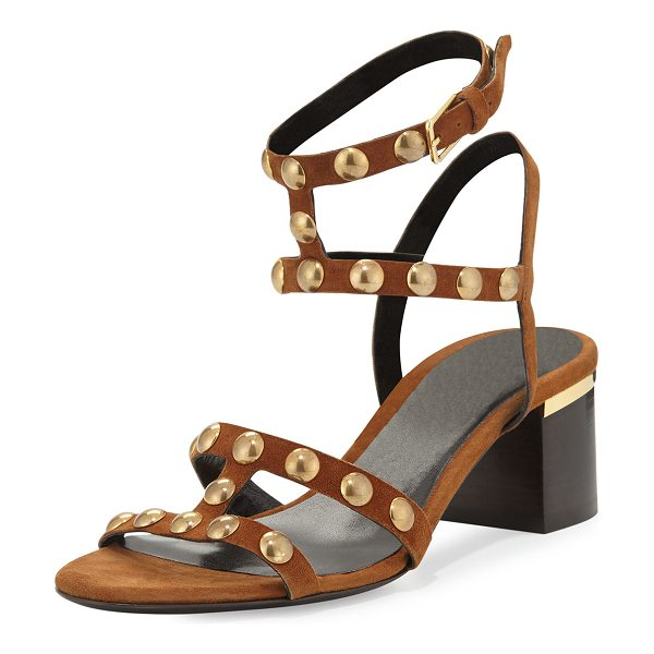 Burberry Philly studded city sandal in malt brown - Burberry kid suede city sandal. Round golden studs...