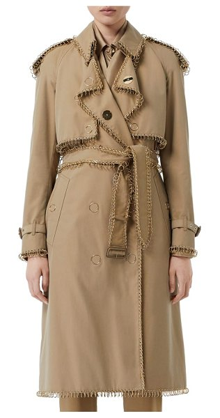 Burberry pierced double breasted cotton trench coat in beige