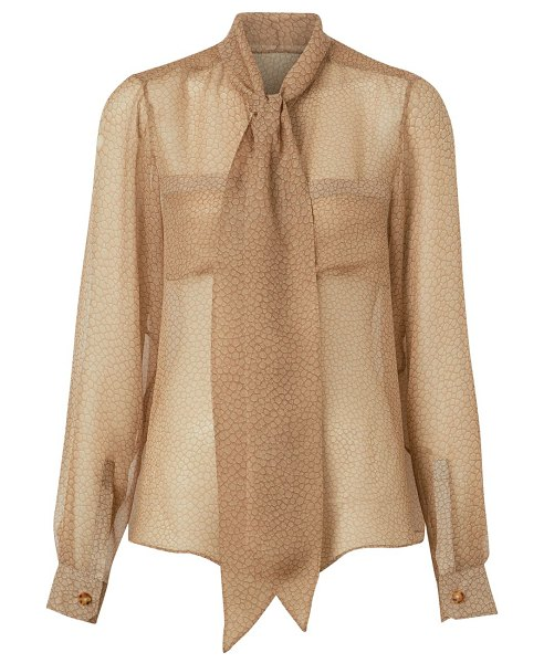 Burberry printed chiffon tieneck silk blouse in light sand