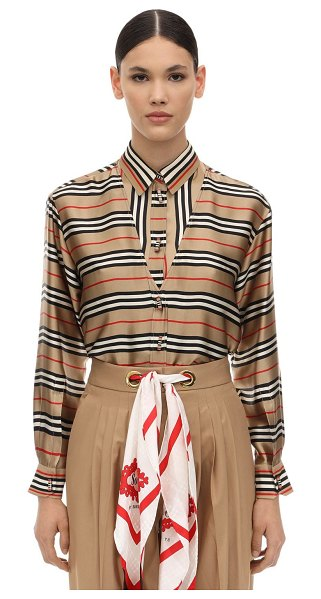 Burberry Printed silk shirt in beige