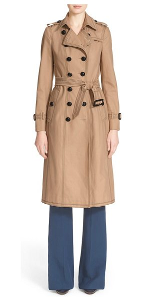 Burberry Prorsum cotton gabardine slim trench coat in honey - A new take on the iconic Burberry trench boasts...