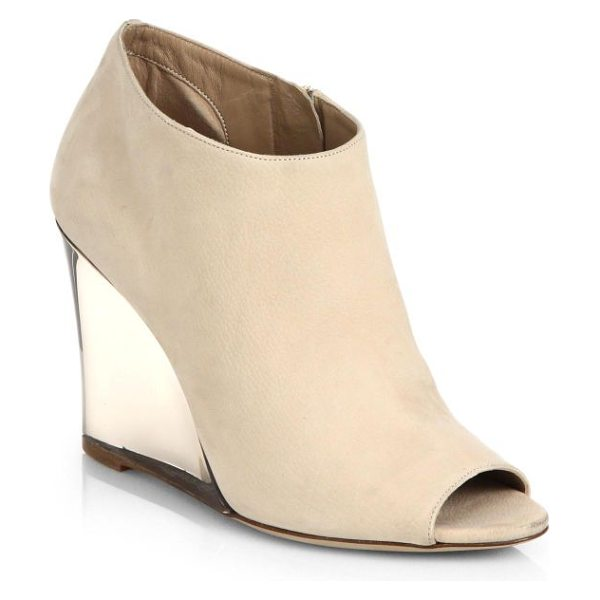 Burberry Prorsum Keston leather peep-toe wedge ankle boots in stone - Luxe leather peep-toe ankle boots with a clear wedge...