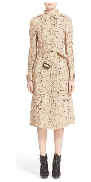 Burberry Prorsum macrame lace trench coat in nude - The iconic Burberry trench is reimagined for the season...