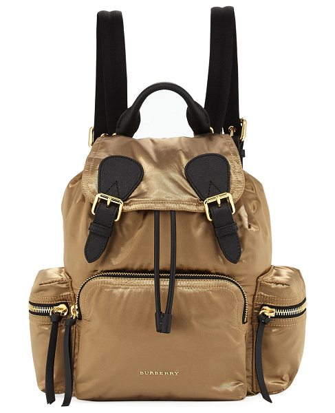 Burberry Prorsum Medium Rucksack Satin Backpack in gold - Burberry rucksack-style backpack in lightweight satin...