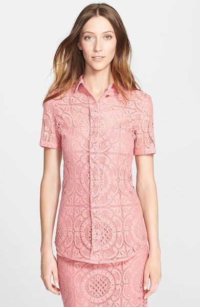 Burberry Prorsum short sleeve english lace blouse in pale rose - A lovely button-front collared blouse is crafted from...