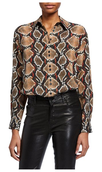 Burberry Carlota Python-Print Silk Button-Front Shirt in soft cocoa