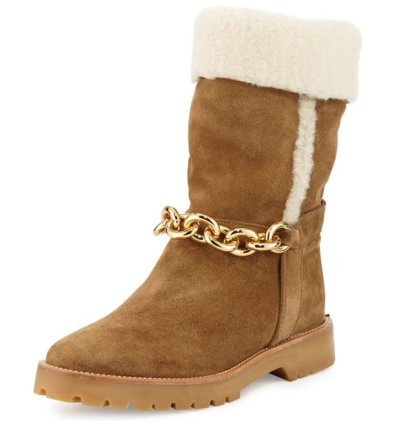 Burberry Raywood Fur-Cuff Ankle-Chain Boot in light oak brown - Burberry suede boot with dyed sheep shearling (Spain)...