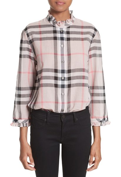 Burberry salla check print cotton shirt in vintage pink - Iconic checks pattern a lightweight cotton blouse with a...