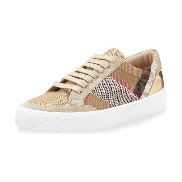 "BURBERRY Salmond Sequined Check Low-Top Sneaker - Burberry check canvas, suede, and leather sneaker. 1""..."
