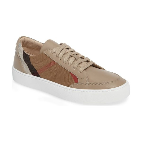 Burberry salmond sneaker in nude - Bold Burberry checks provide a sophisticated update to a...