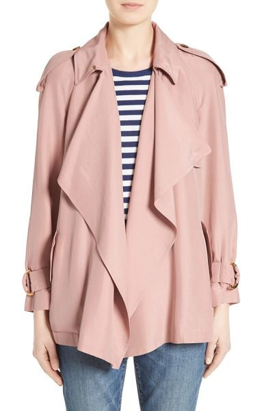 Burberry sanbridge silk wrap coat in ash rose - Softly draped lapels and Italian mulberry silk...